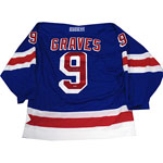 Adam Graves Blue Rangers Replica Jersey (Signed on Back)